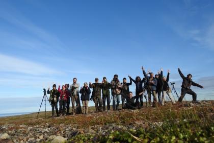 L'équipe du GOBE victorieuse d'avoir vu l'Harfang Photo: V. Mettraux